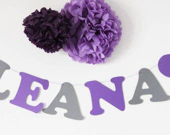 Garland name cotton paper coated 2 hearts