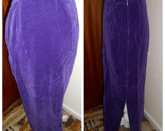 Cute Vintage Retro 1970s Purple Velvet Maxi Skirt By Morkam UK 6 8 S XS