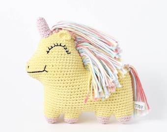 Ready-to-Ship Yellow Uni Queen Crochet Doll | Unicorn Doll, Unicorn Crochet, Unicorn Amigurumi, Unicorn Toy