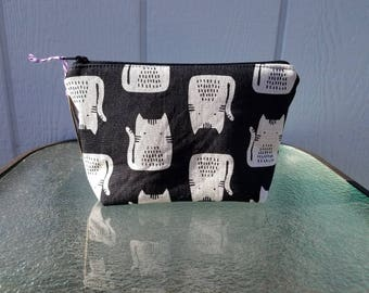 Black and Cream Cats Zipper Pouch Cosmetic Makeup Bag