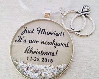 Just Married Christmas tree ornament, Newleywed Christmas tree ornament, personalized Christmas tree ornament, sparkle ornament