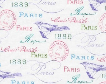 Paris fabric by Robert Kaufman - Paris in Bloom fabric by the yard - vintage style fabric - postmark fabric - French fabric #17051