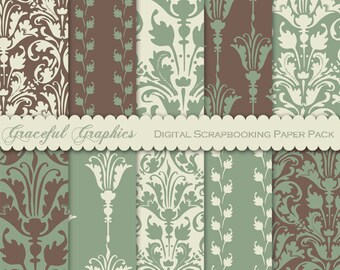 Scrapbook Paper Pack Digital Scrapbooking Background Papers DAMASK 10 8.5 x 11 Sheets OLD WORLD Green Brown White 1658gg