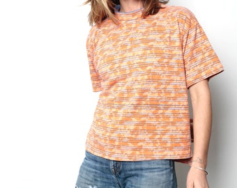 90s bright orange & blue striped OXFORD surf HANG ten style soft SPRING t shirt top