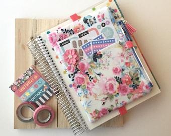 Happy planner cover pouch - floral pencil bag - journal accessories case - zippered pouch - cute planner bag - pencil case