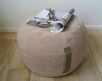 ottoman pouf, beige pouf, neutral round pouf, beanbag pouf, bean bag ottoman, neutral floor cushion, sand ottoman pouf, neutral tan pouffe