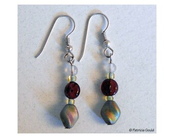 EA18 - Earrings - Czech glass, Japanese glass seed beads, Sterling silver wires - one of a kind by Patricia Gould