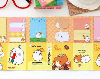 6Fold Molang Sticky Note—Sticky Notes, Stick Note, Notepad, Molang StationerySticky Memo,Molang Notepad
