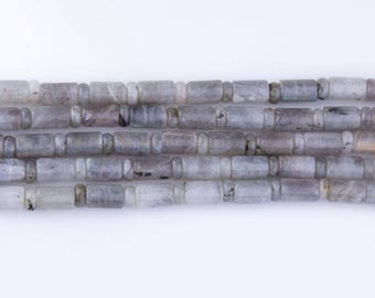 Labradorite Cylinder Roundel Beads, Blue Flash, Bead Strands, Loose Beads, Semi-Precious Gemstones, Roundelle, Priced per Strand, LAB04