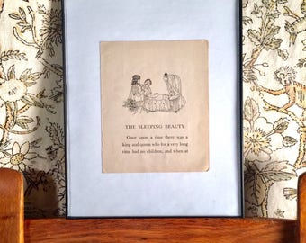 Vintage Sleeping Beauty Little Girl's Room Storybook Page Wall Decor