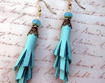 Turquoise Leather Fringe Earrings