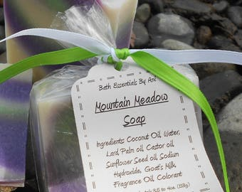 Mountain Meadow Soap - All Natural Soap, Handmade Soap, Homemade Soap, Handcrafted Soap, Purple Soap, Green Soap, Rain Soap, Mountain Rain