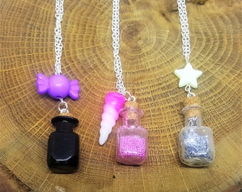 Potions necklace, nerd necklace, geek necklace, dungeons and dragons, magic necklace, kawaii necklace, pastel goth necklace, vial necklace