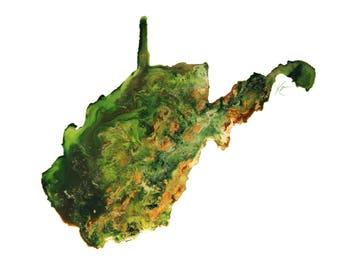 West Virginia Topography Print