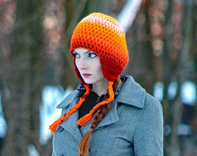 Orange Fade Ombre Ear Flap Hat Winter Beanie Perfect Gift for Him Or Her