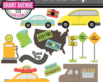 Road Trip - Cute Digital Clipart Set for Personal and Commercial Use - Card Design, Scrapbooking, and Web Design