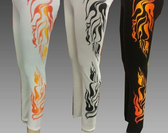 SALE Flame Printed Leggings - Fire Resistant Fabric