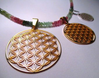 Flower of Life ※etheric Sacred Geometry pendant, lasercut GOLD SILVER Jewelry gift, Seed of Life Mandala, golden mean Harmony, Balance magic