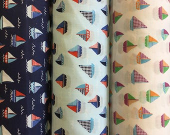 Sailing Boats polycotton craft fabric available in three colours by the metre