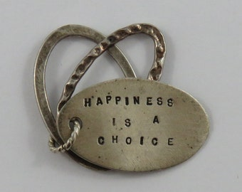 Happiness is a Choice Sterling Silver Vintage Charm For Bracelet