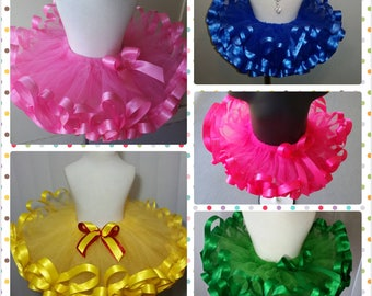 Create your own solid color, ribbon trimmed tutu