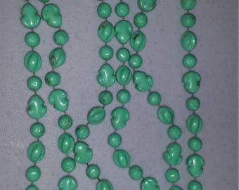 "60"" green beaded necklace"