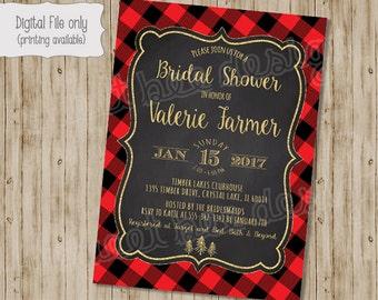 Lumberjack Bridal Shower Invitation, Couples shower, Gold Glitter, Printable Lumberjack Invitation, Rustic, Plaid, Forest Wedding Invite