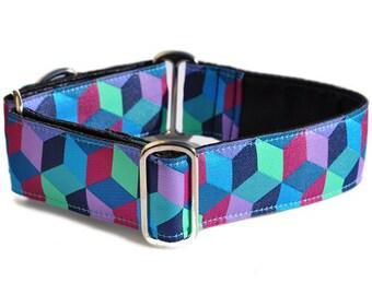 Martingale Dog Collar or Buckle Dog Collar - Custom Dog Collar - Wide Martingale Collar -  Blocks Jacquard - 1.5 Inch