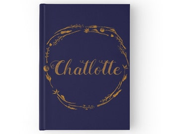 Personalized Navy Blue Gold Journal, hardcover journal, custom name journal, navy blue journal, personalized journal, navy gold journal