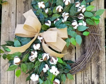 Cotton Wreath for Front Door, 2nd Wedding Anniversary Gift, Farmhouse Decor, Outdoor Wreath, Year Round Wreath, Summer Wreath Wedding Wreath