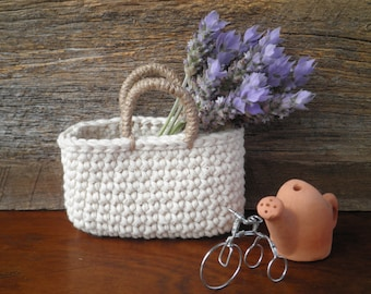 FREE SHIPPING, Miniature Cotton Tote Bag, Small Crochet Bag, Gift for Women, Natural Colors, French Country Decor, Cotton and Jute Bag