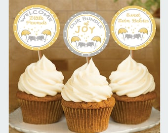 Twin Elephant Baby Shower, Cupcake Toppers