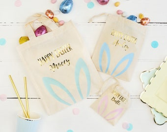 Gold Foil And Pastel Personalised Gift Bag Treat Bag For Children Bunny Bag Gifts Ideas Pastel Party Gift