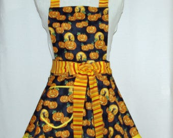 Halloween Apron, Petite Size Apron, Teen Halloween Decor, Custom Personalized With Name, No Shipping Charge, Ready To Ship TODAY AGFT  1014