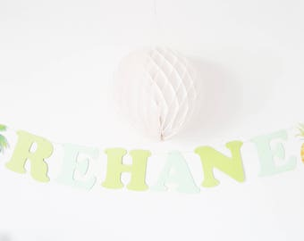 Garland name cotton coating-exotic theme paper - letters + 1 pineapple Palm tree 1