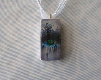 All Knowing Eye Domino Necklace