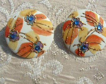Beautiful Abstract Round White with Blue and Orange enamel and Gold Raised Paint with Blue Rhinestones Pierced Auburn Fireworks Earrings