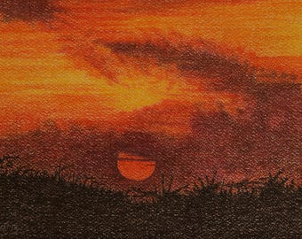 Serengeti Sunset, African Sunset Art, Original Sunset Paintings, Original Sunset Art, African Paintings Sunsets, Tropical Sunset Art, Africa