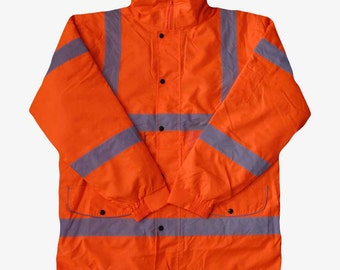Hi Vis Viz Orange Parka Jacket High Visibility Reflective Safety Waterproof Work Coat