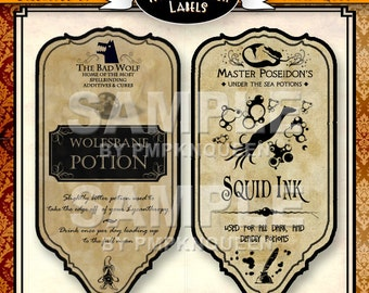 Thin Bottle Halloween Label Set