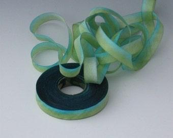 Hand dyed silk bias-cut ribbon BG