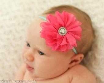 Coral Baby Headband.Newborn Headband.Baby Headband.Newborn Baby Headband.Infant Headband.Chiffon Flower Headband.Aqua Baby Headband