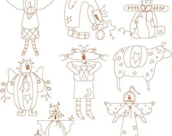 Instant Digital Downloadable formats Set of 8 Primitive Harvest Angels 5x7 Linework Machine Embroidery Designs