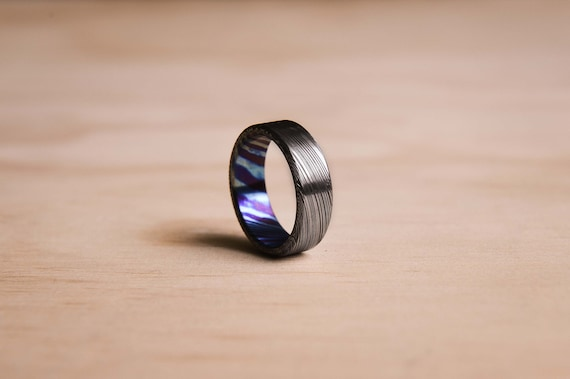 Brushed Damasteel Heimskringla Ring with a Timascus Liner