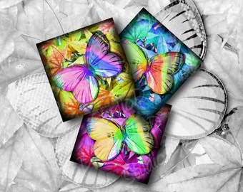 Butterfly Images, 1 inch Square, Digital Collage Sheet, Key Chain, charm glass pendants, jewelry making