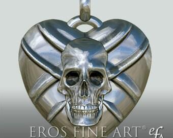 Herzanhänger Skull with swords - exklusiver Silberanhänger, Herzanhänger, Gothic, Dark, Kult, Schwert
