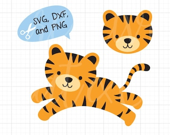 Tiger SVG DXF Baby Tiger SVG dxf Cute Tiger Face Head svg dxf File for Cricut or Silhouette Cute Tiger svg Cut File Clipart Clip Art