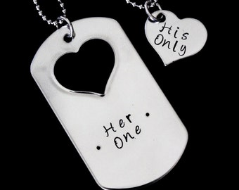 Her One His Only Hand stamped Necklace set - couple set - anniversay or wedding gifts