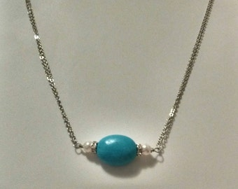 Genuine Turquoise and Freshwater Pearl Necklace