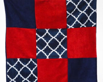 Blue and red nautical fleece baby quilt, car seat, crib or lap blanket